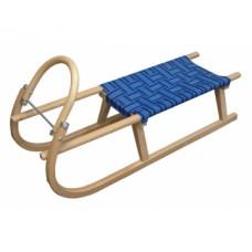 sánky drevené S POPRUHY 110CM modré